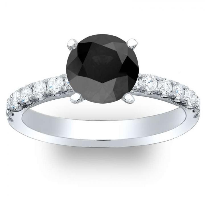 White Gold Black Diamond Engagement Rings