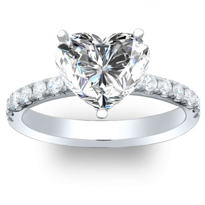 Platinum Heart Shape Engagement Rings