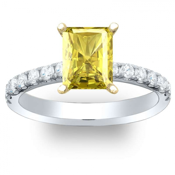 Radiant Cut Pave Yellow Diamond Engagement Rings