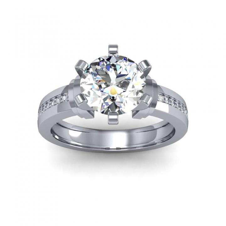 Bar Set Round cut Engagement Rings