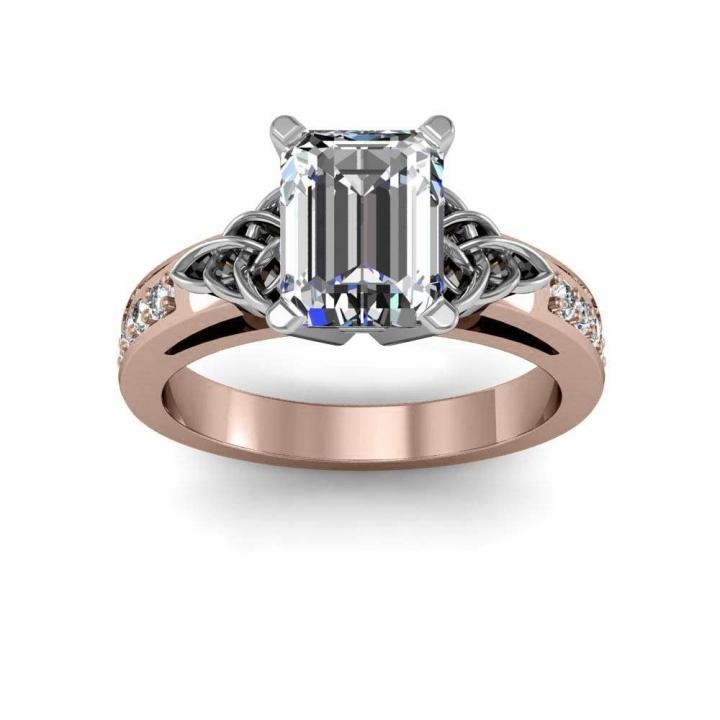 Rose Gold Emerald cut Engagement Rings