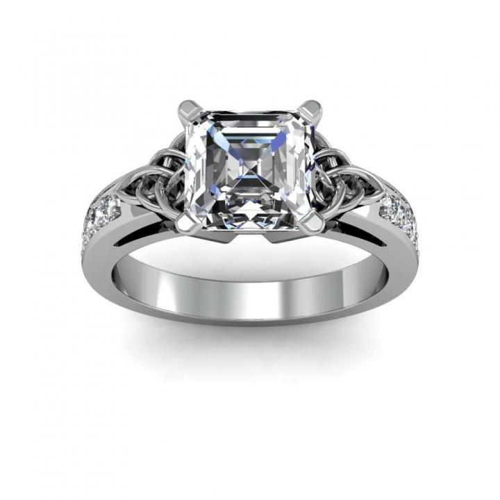 Celtic Asscher cut Engagement Rings