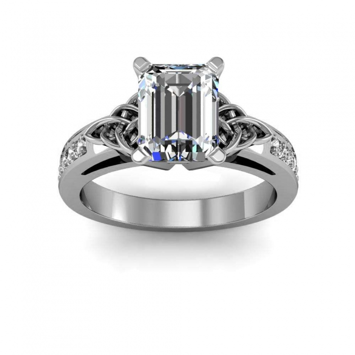 Celtic Emerald cut Engagement Rings