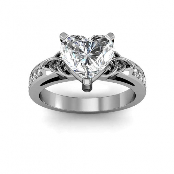 Trellis Heart Shape Engagement Rings