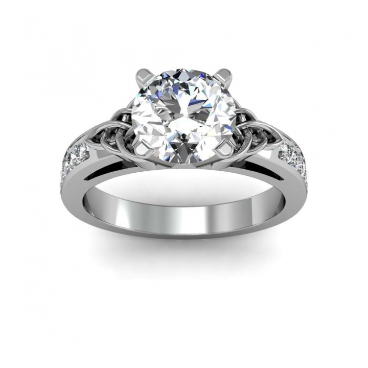 Celtic Round cut Engagement Rings