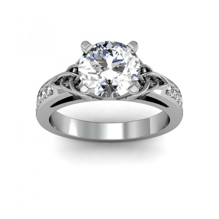 Trellis Round cut Engagement Rings