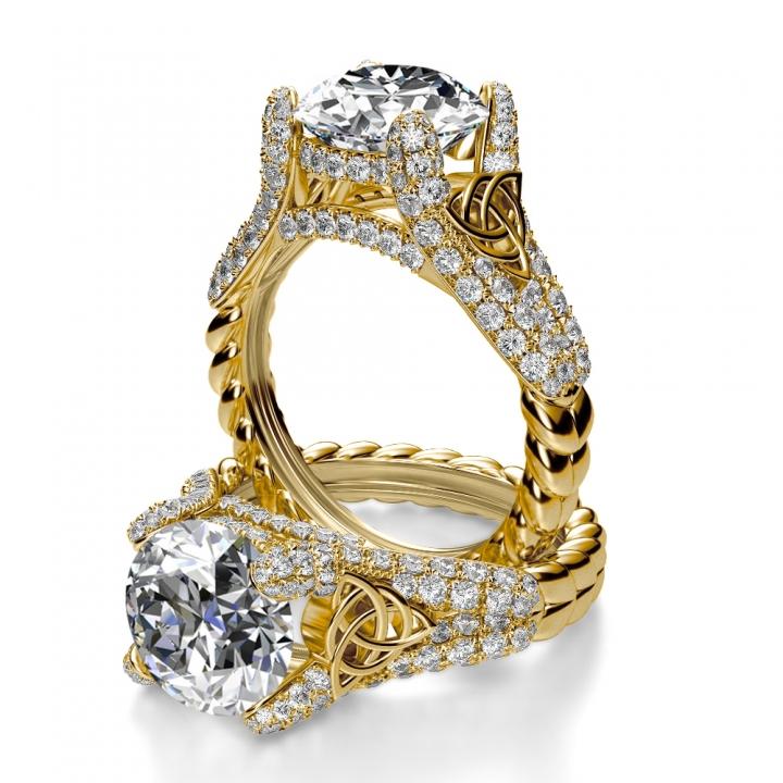 Split Shank Yellow Gold Engagement Rings