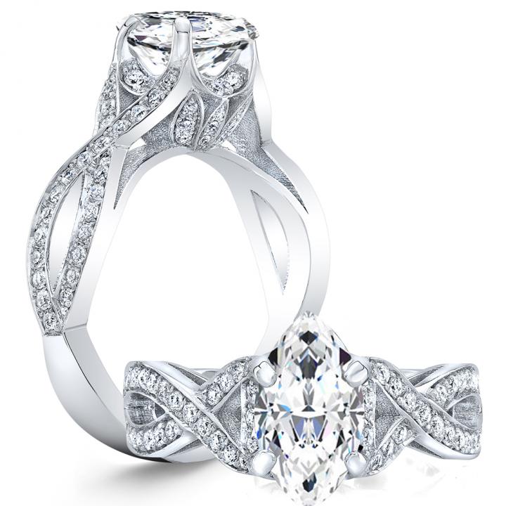 Split Shank Marquise cut Engagement Rings