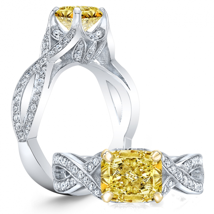Pave Yellow Diamond Engagement Rings