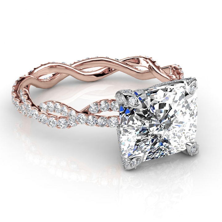 Eternity Cushion cut Engagement Rings