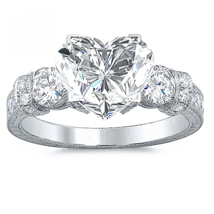 Stylish Heart Shape Engagement Rings
