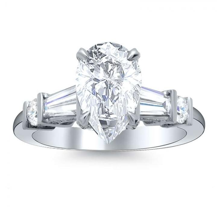 Bar Set Pear cut Engagement Rings
