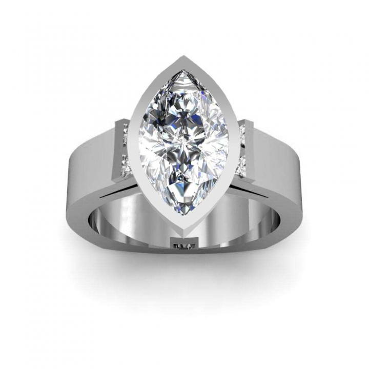 Euro Shank Marquise cut Engagement Rings
