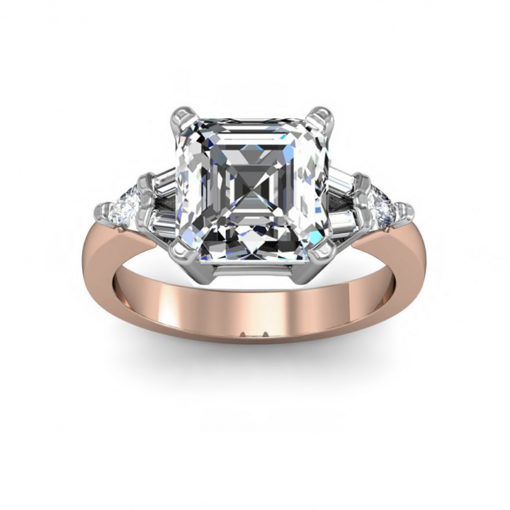 Trillion Accents Rose Gold Engagement Rings