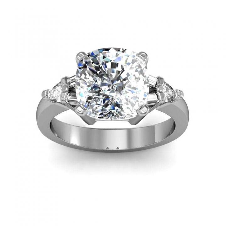 Trillion Accents Cushion cut Engagement Rings