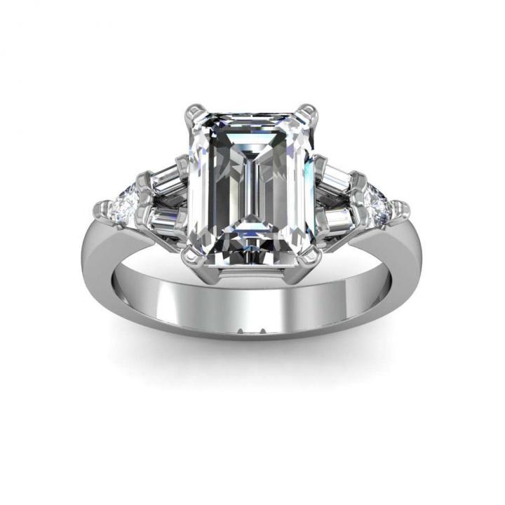 Trillion Accents Emerald cut Engagement Rings