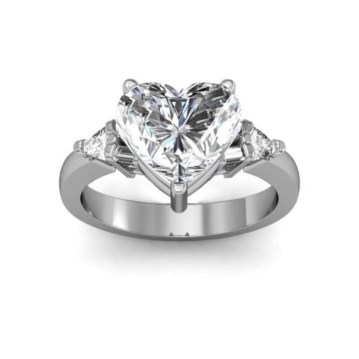 Trillion Accents Heart Shape Engagement Rings