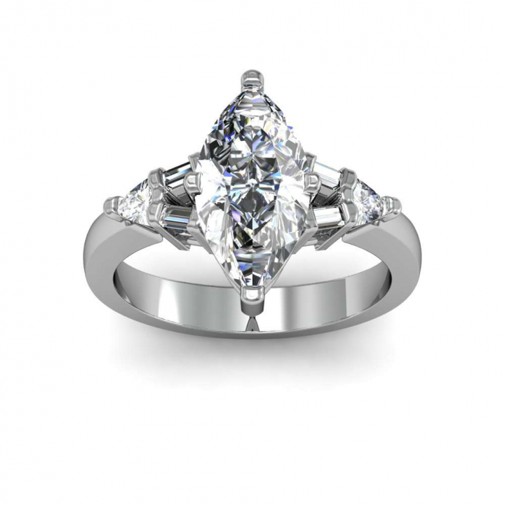 Baguette Accents Marquise cut Engagement Rings