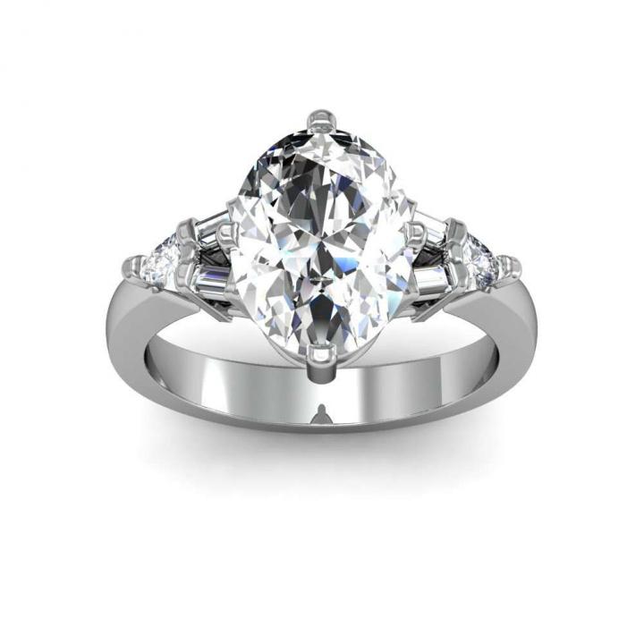 Baguette Accents Oval cut Engagement Rings