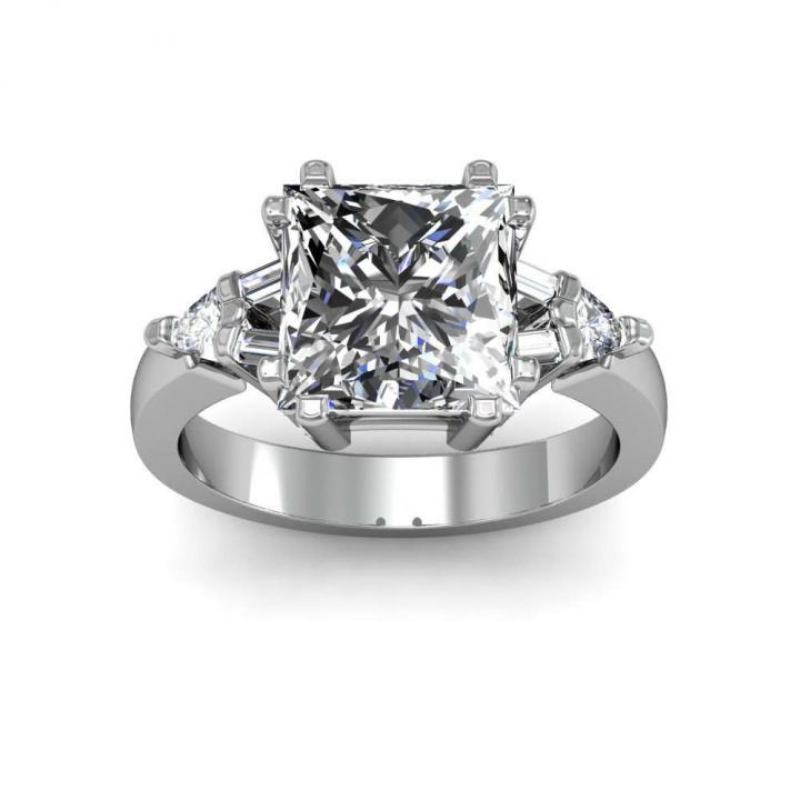 Baguette Accents Princess cut Engagement Rings