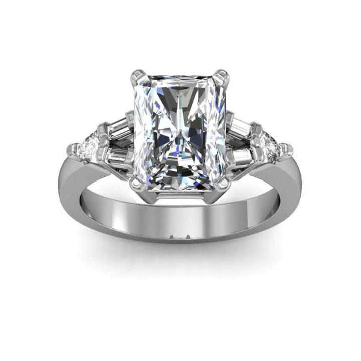 Trillion Accents Radiant cut Engagement Rings