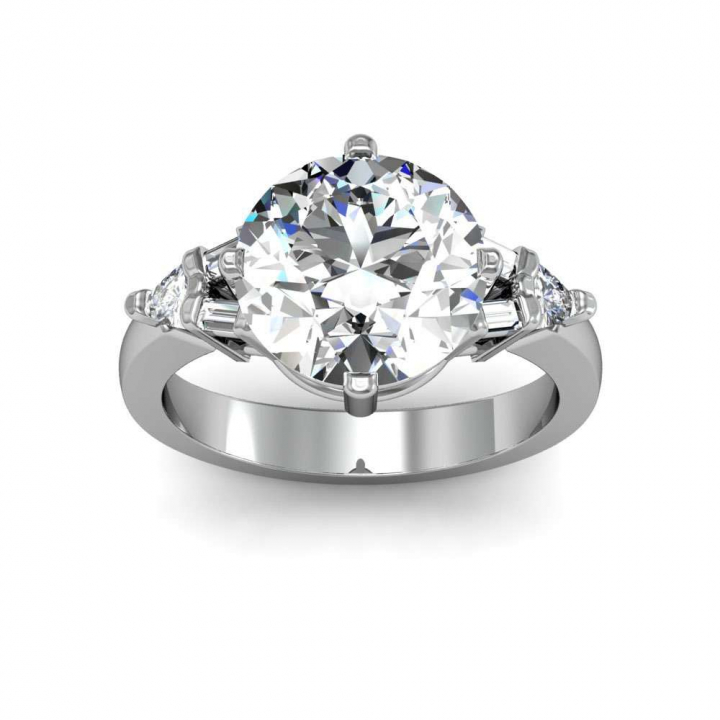 Baguette Accents Round cut Engagement Rings