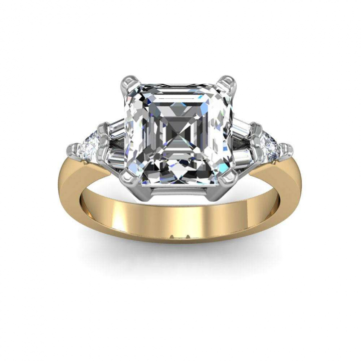 Trillion Accents Yellow Gold Engagement Rings