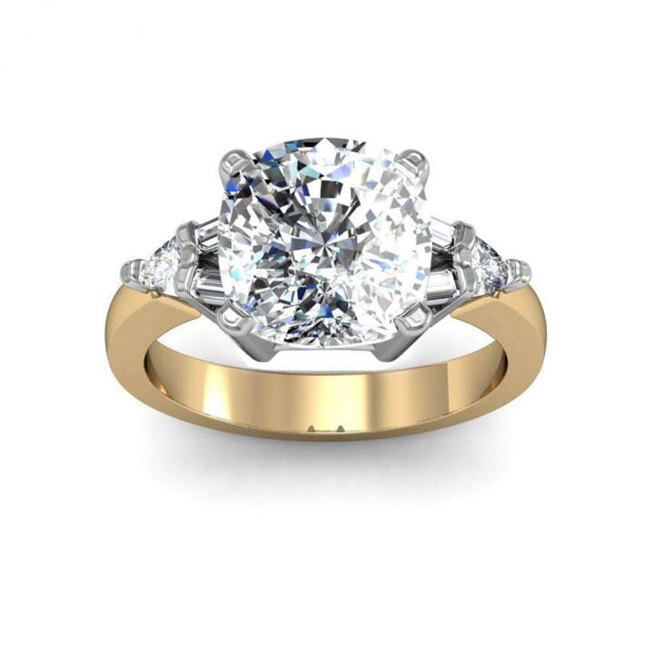 Yellow Gold Cushion cut Engagement Rings