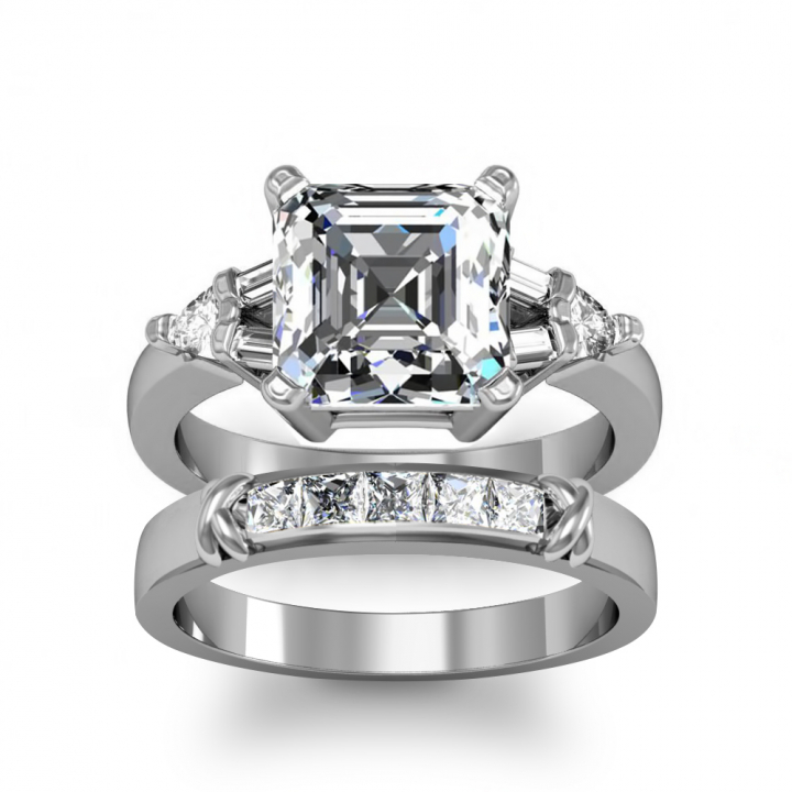 Trillion Accents Bridal Wedding Ring Sets