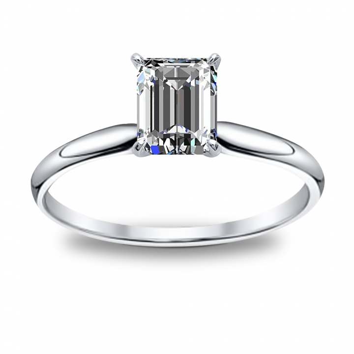 Emerald Cut Solitaire Engagement Ring Settings