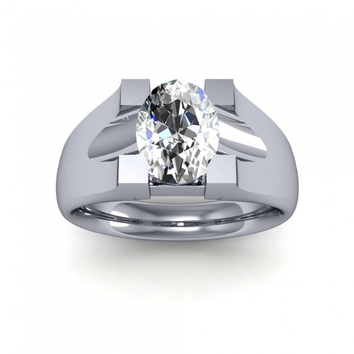 Bar Set Oval cut Engagement Rings