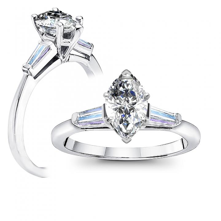 Marquise Cut Three Stone Engagement Ring Settings