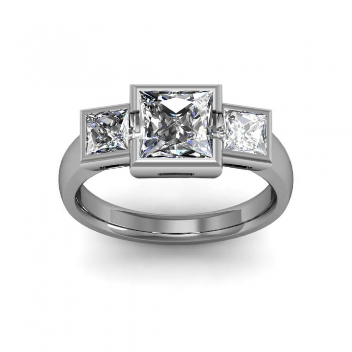 Two Tone Bezel Set Engagement Rings