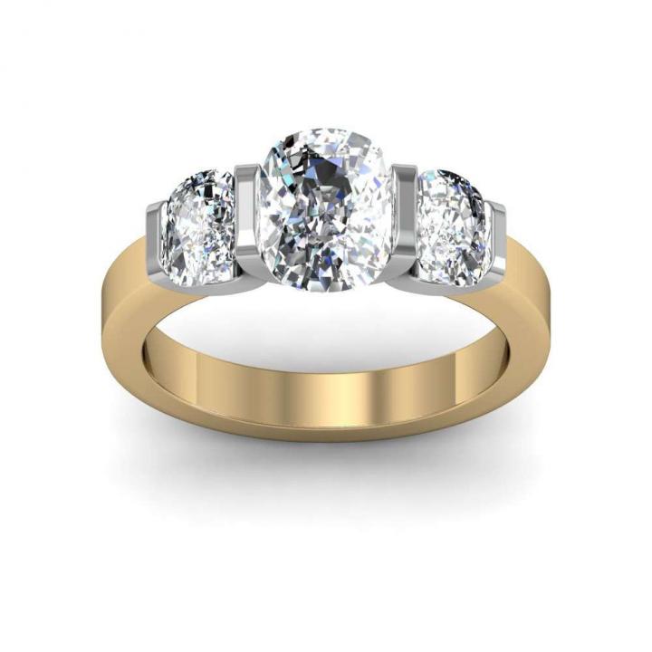 Yellow Gold Three Stone Engagement Rings