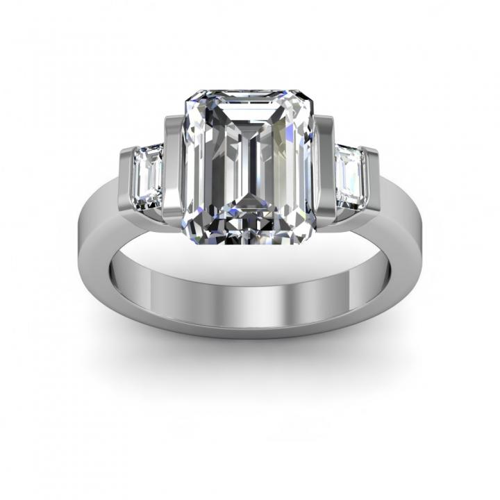 Baguette Accents Bezel Set Engagement Rings