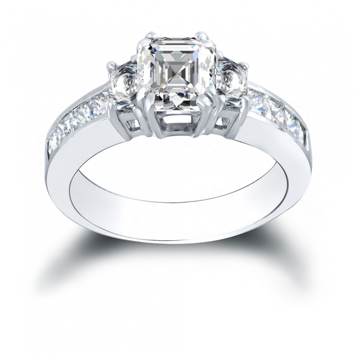Trapezoid Accents Engagement Rings