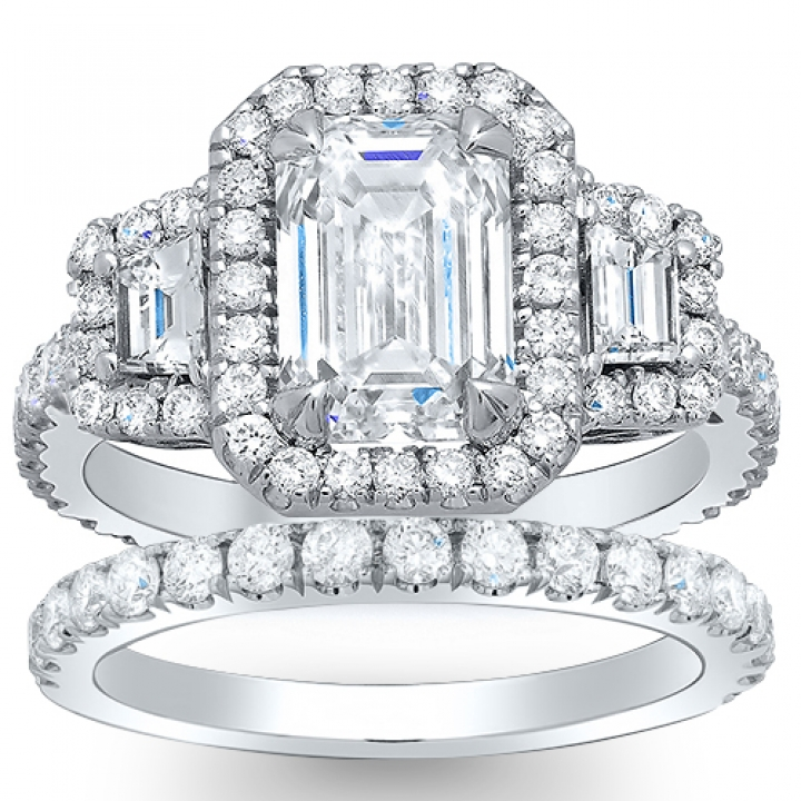 Trapezoid Accents Bridal Wedding Ring Sets