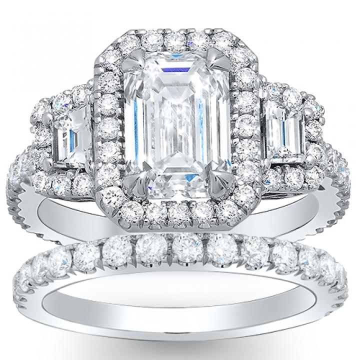 Hand Engraved Bridal Wedding Ring Sets