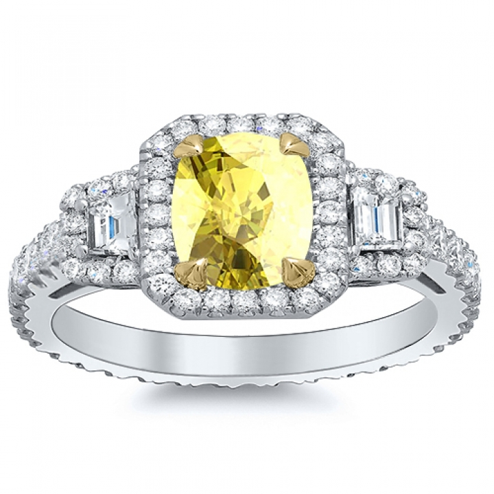 Trapezoid Accents Yellow Diamond Engagement Rings