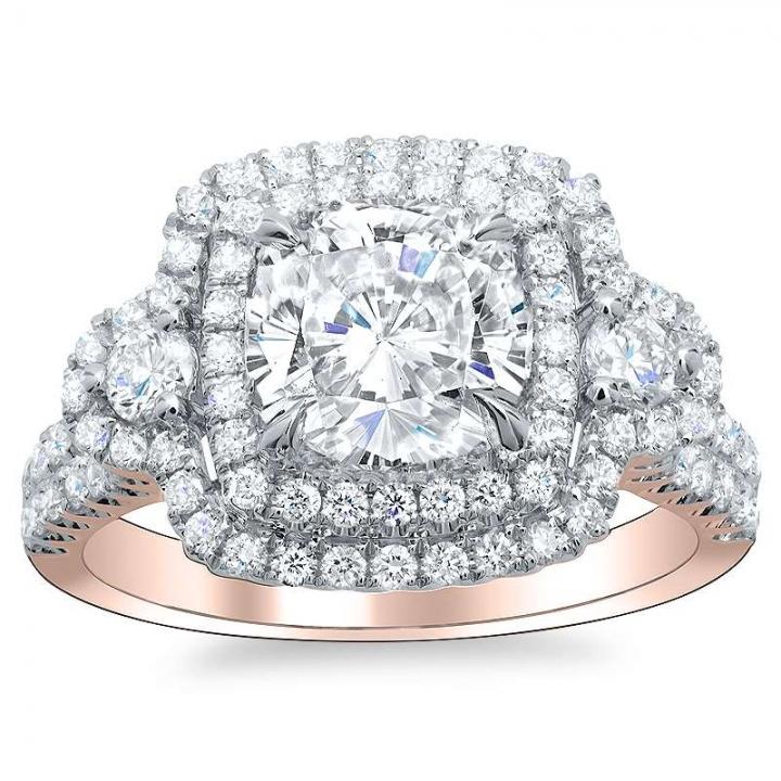 Rose Gold Cushion cut Engagement Rings