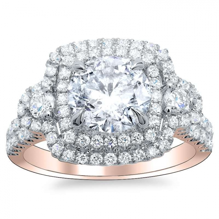 Rose Gold Round cut Engagement Rings