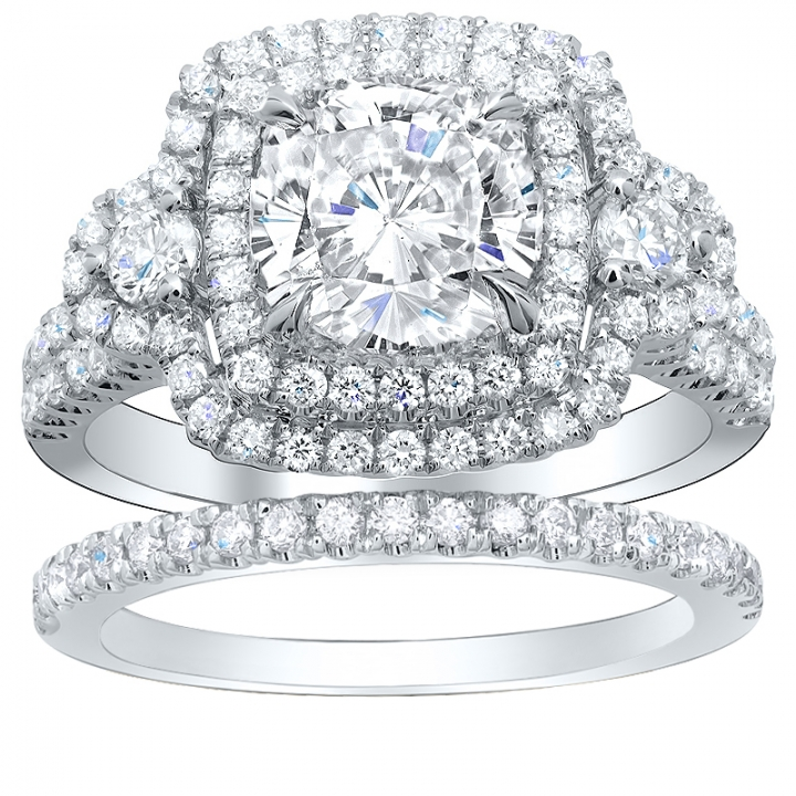 Hearts Bridal Wedding Ring Sets