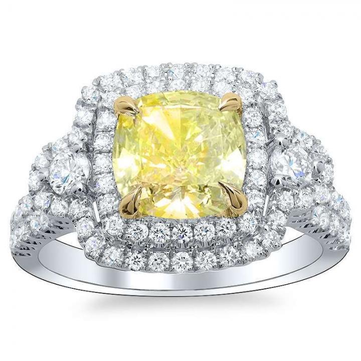 Hearts Yellow Diamond Engagement Rings