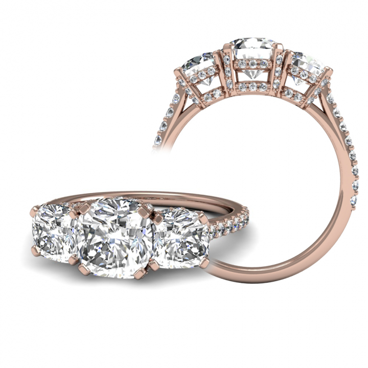 Rose Gold Three Stone Engagement Rings