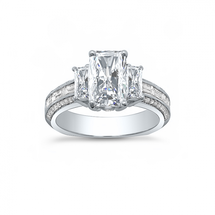Baguette Accents Radiant cut Engagement Rings