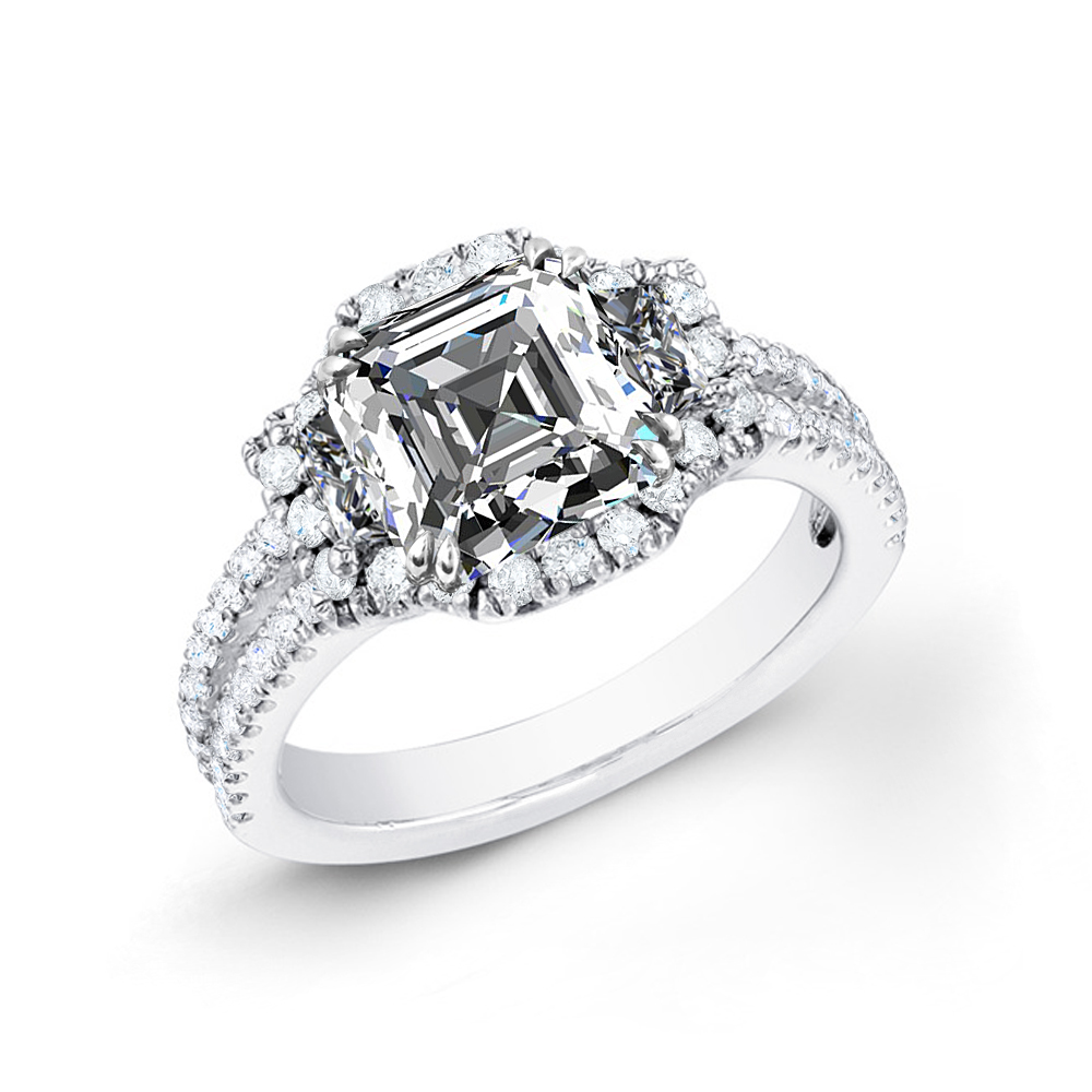 3-Stone Halo Pave Split Shank Diamond Engagement Ring