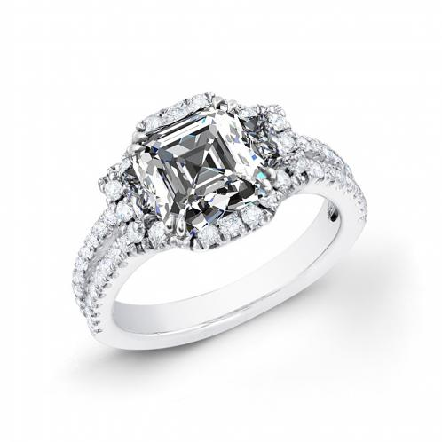 3-Stone Halo Pave Split Shank Diamond Engagement Ring