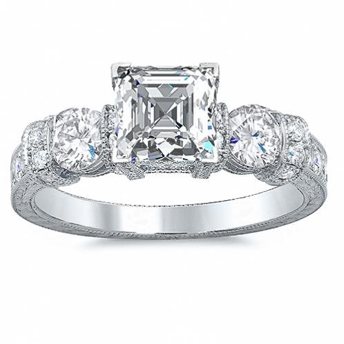 Baguette and Round Cut  Vintage Style Diamond Engagement Wedding Set