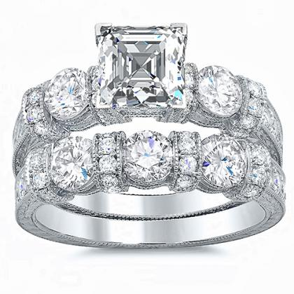 Cluster Bridal Wedding Ring Sets
