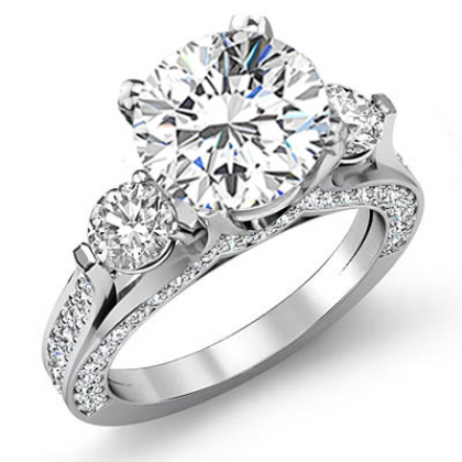 2 30ct Natural Diamond Round Cut Three Stone Pave Side Profile Engagement Ring 14k White Gold Gia